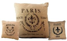 Paris French Market Burlap Throw Pillow Set - Set of 3 by The Country House, around $42.50