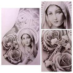 Mother Mary Catholic chest piece #mary #roses #rosary #jesus #cross #heaven #doves #religious #catholic #chestpiece #tattoo #design #tattoos #tatart #art #artwork #tattooart #designs #sketch #detail #blackandgrey #bg #potd #edm #sotd #instagood #ink #inkart #sydney #australia @rubixcubetattoo