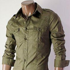 Men's Cargo Long Sleeve Button Shirt