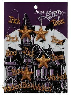 Primitives By Kathy Mini Halloween Trick or Treat Glitter Ornaments Set