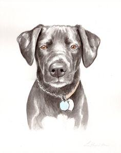 "8.5""x11""watercolor Custom pet portrait, original watercolor painting dog cat animal pet lover painting handmade wall art gift...I LOVE ETSY"