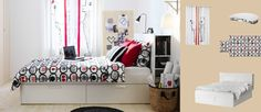 BRIMNES white bed with storage boxes and headboard with storage compartments