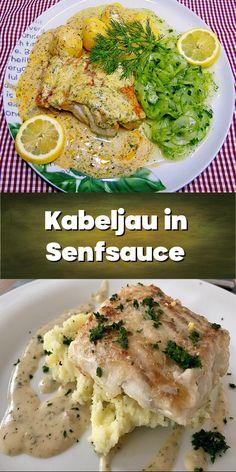 Kabeljau in Senfsauce - als Fisch kann auch Dorsch oder Pangasius verwendet werden. Chicken, Food, Browning, Red Peppers, Food Portions, Kochen, Meal, Essen, Cubs