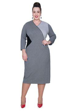 dd3bbcc81b Szara długa sukienka dekolt V - Modne Duże Rozmiary