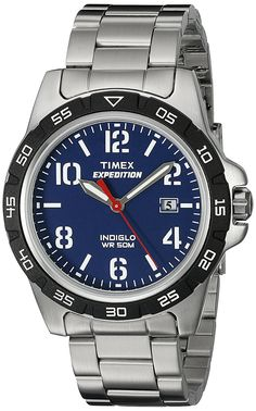 Timex Unisex T499259J  Expedition Rugged Silver-Tone Watch With Stainless Steel Bracelet >>> Click image for more details.