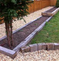Low level raised beds from silver grey new oak railway sleepers Raised Beds Sleepers, Oak Sleepers, Cottage Garden Plants, Garden Spaces, Garden Beds, Landscaping With Rocks, Front Yard Landscaping, Railway Sleepers Garden, Lawn Edging