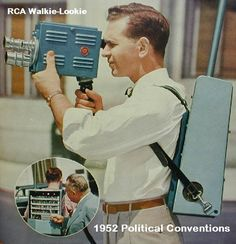 RCA Walkie-Lookie.  That looks comfortable.  And look at that boxy form factor, holding the camera out in front instead of on your shoulder.  Whatever is old is new again...