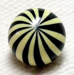 UBER FABULOUS 1900-1920'S ART DECO BLACK & IVORY EXTRUDED CELLULOID BALL BUTTON