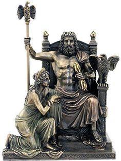 "11"" Statue of Zeus & Hera at the Throne Greek Mythology Figure Sculpture"
