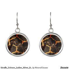 Giraffe_Colours_Ladies_Silver_Round_Drop_Earrings. Earrings