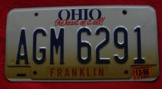 "1996 Ohio License Plate  "" The Heart Of It All "" - AGM6291"