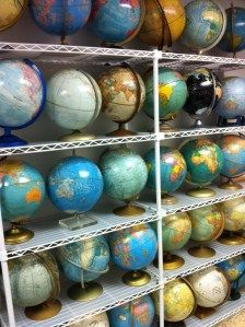 Once I was looking for a globe at Wally-World (aka Wal-Mart), and the sales associate was pretty sure I'd find it in the jewelry dept. I don't the she knew what a globe was. Globes Terrestres, World Globes, Global Decor, Chalkboard Decor, Map Globe, Globe Art, Vintage Maps, Vintage Stuff, We Are The World