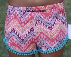 Shake Your Pom Poms Coral Chevron Shorts