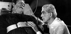 """From """"The House of Frankenstein"""" – Glenn Strange as the Monster and Boris Karloff as the film's mad scientist, Dr. Monster Mash, Frankenstein's Monster, Monster Movie, Victor Frankenstein, Bride Of Frankenstein, Shelley Frankenstein, Isaac Asimov, Mary Shelley, Classic Horror Movies"""
