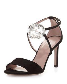 Gucci Sparkling Logo Leather Evening Sandal, Black