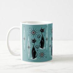 Mid Century Cats and Clocks & Coffee Mug - antique gifts stylish cool diy custom Sunburst Clock, Synthetic Rugs, Cat Mug, Pet Gifts, White Elephant Gifts, Christmas Card Holders, Cool Diy, Clocks, Coffee Mugs