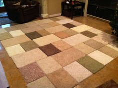 DIY Area Rug, made from carpet samples and duck tape. 10ft X 9ft $27.50!
