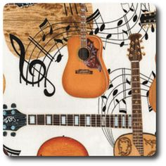 Acoustic guitars and floating musical notes from Kanvas Studio. Appliance Covers, Organize Fabric, Novelty Fabric, Rock Legends, Music Notes, Ivory, Acoustic Guitars, Life Moments, Nursery