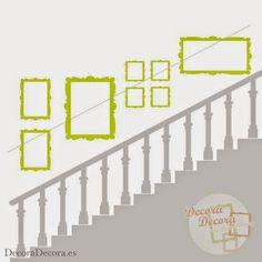 colgar cuadros en la escalera