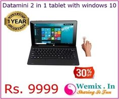 Datamini 2 in 1 tablet with windows 10 Rs 9999
