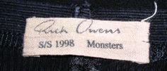 Rick Owens Monsters Label Spring/Summer 1998