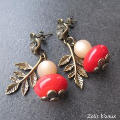 Boucles d'oreilles Calistemon | Une création bijou fantaisie originale Zolis Bizoux made in Quimper fait-main qualité et amour