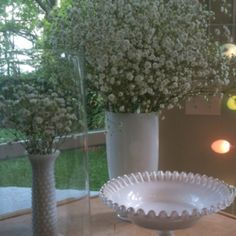 Milk glass and baby's breath!