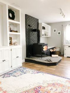Diy Fireplace Mantel, Fireplace Update, Paint Fireplace, Brick Fireplace Makeover, Shiplap Fireplace, Stove Fireplace, Wood Stove Decor, Wood Stove Surround, Stove Paint