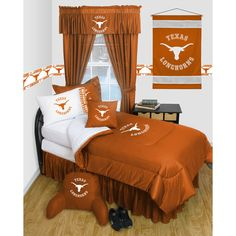 Texas Longhorns NCAA Locker Room Collection Twin Bed Complete Set