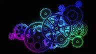 Flat gears. Neon version. Loop. video