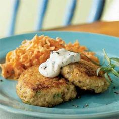 Salmon Croquettes with Rémoulade Recipe from cooking light << I like that it's kind of a crab cake made with canned salmon.