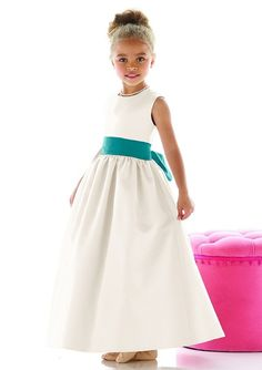 natural waist satin sleeveless jewel ribbon flower girl dress