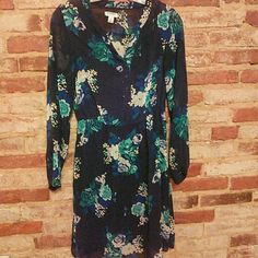 Gorgeous Old Navy dress Long sleeved sheer blue and teal floral dress. Cinched waist and fully lined with slip underneath Old Navy Dresses