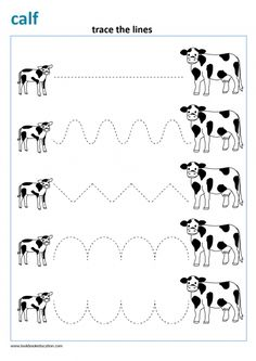 Writing pattern for preschool and kindergarten. Trace the lines. Connect the farm animals. Community Helpers Worksheets, Shape Worksheets For Preschool, Letter B Worksheets, English Worksheets For Kids, Preschool Writing, Preschool Learning Activities, Kindergarten Worksheets, Letter C Activities, Farm Theme