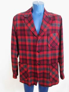 Mens Pendleton Wool Jacket Vintage 1960s Topster Red Plaid Holiday Wear Gift  $50  http://www.rubylane.com/item/676693-R299/Mens-Pendleton-Wool-Jacket-Vintage-1960s