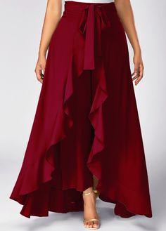 Zipper Side Tie Waist Wine Red Overlay Pants on sale only US$31.58 now, buy cheap Zipper Side Tie Waist Wine Red Overlay Pants at liligal.com