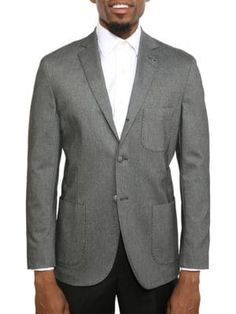 Michael Bastian Slim-fit Notch Lapel Wool Jacket In Grey Gray Jacket, Suit Jacket, Michael Bastian, Wool Fabric, Slim, Blazer, Grey, Long Sleeve, Fitness