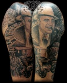 Gangster half sleeve by state-of-art-tattoo on deviantart Sleeve Tattoos For Women, Tattoo Sleeve Designs, Tattoos For Guys, Guy Drawing, Woman Drawing, Gangster Tattoos, Tattoo Videos, Guy Pictures, Color Tattoo