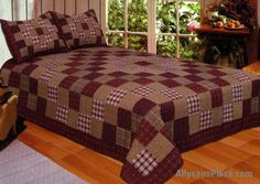 VALUE PRICED QUILT Primitive Squares Bedding Quilted Combo/ Like us on Facebook!  https://www.facebook.com/AllysonsPlaceDecor / #Primitive #country #Cabin Star Patch