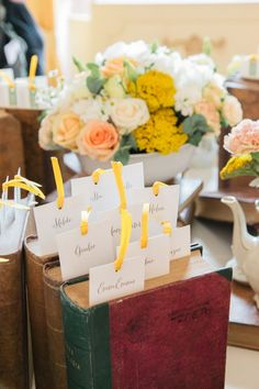A touch of yellow ribbon #weddings #brides #weddingplacecards