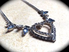 Victorian Rhinestone #Necklace -Bridal Heart Rhinestone Necklace -Romantic -Runway -Statement Necklace with Blue Rhinestone accents  Bridal Heart Rhinestone Necklace Romanti... #jewelry #vintage #christmas #gifts #etsy #necklace #teamlovegroup