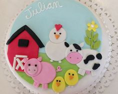 El viejo Joe tenía una granja Farm Animal Cakes, Farm Animal Party, Farm Animal Birthday, Barnyard Party, Farm Party, Farm Birthday Cakes, Baby Birthday, Fondant Cakes, Cupcake Cakes