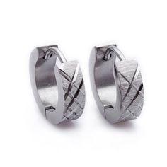 Silver Cross Pattern Stud Hoop Mens Earrings