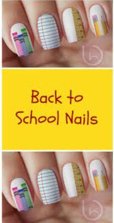 Back To School Nail Decal Nail Design Nails Press On Nail Decal Nail Design School Nail Art, Back To School Nails, Gold Nails, Fun Nails, Pretty Nails, Teacher Nails, August Nails, Graduation Nails, American Nails