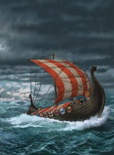 An artistic depiction of a Viking longboat. Image source: www.fightdogsweblog.wordpress.com