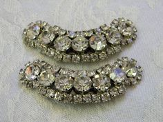 Vintage Crescent Rhinestone Shoe Clips or Hair Clips..https://www.etsy.com/listing/103494861/vintage-crescent-rhinestone-shoe-clips