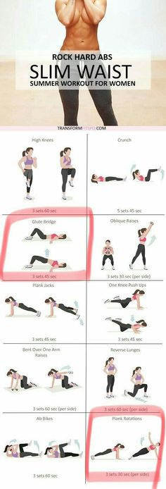 Fitness Motivation : Rock Hard Abs Slim Waist Workout for Women Fitness Workouts, Fitness Diet, At Home Workouts, Health Fitness, Toning Workouts, Summer Workouts, Hard Core Ab Workout, Home Back Workout, Toned Abs Workout
