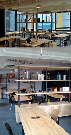 Open plan office with wooden office work surfaces #openplanoffice