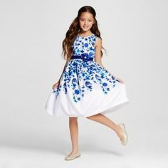 Girls' Young Hearts A-Line Floral Dress - White