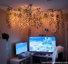 Looking for unusual inexpensive ceiling decorating ideas? Learn how to make our woodland twinkle light ceiling decor project. It's breathtaking! SEE FULL PROJECT & ALL PHOTOS HERE Room Ideas Bedroom, Bedroom Decor, Fairy Bedroom, Chambre Indie, Butterfly Room, Aesthetic Room Decor, Cozy Room, Bedroom Lighting, Dream Rooms